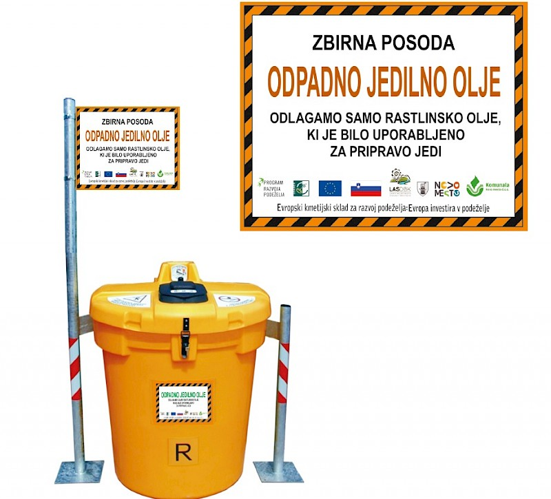 Prve posode za zbiranje odpadnega jedilnega olja v Mestni občini Novo mesto  - LAS Dolenjska in Bela krajina